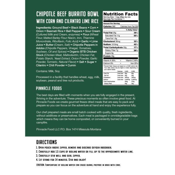 Nutrition Label for Burrito Bowl